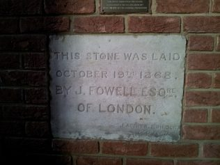 The foundation stone from the 1868 chapel preserved in the 1977 church
