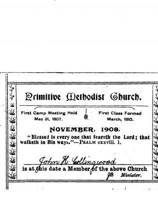 Primitive Methodist Class Ticket 1908