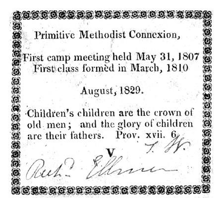 Richard & Hannah Ellmer both had Class Tickets for Aug 1829. These were among the first tickets to be issued with the title Primitive Methodist Connection. (enhanced for clarity)
