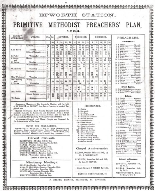 Richard Ellmer is a Preacher named on the 1894, 1895 and 1899 Epworth Circuit Preaching Plans