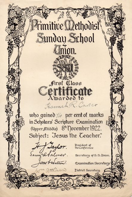 PM Sunday School Certificate gained at Mainsforth Tce. Chapel, Sunderland | Newcastle upon Tyne District Archives