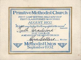 The last PM membership ticket before Methodist Union, 1932 | Englesea Brook Museum