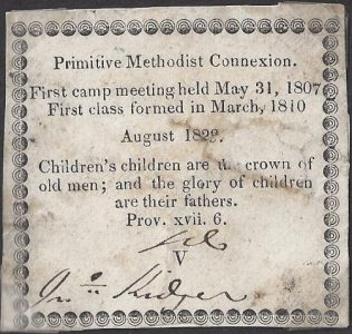 The first ticket to include the words 'PM Connexion' and details of its history, Aug 1829 | Englesea Brook Museum [ENBM 2006/95]