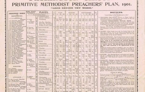 Patrington Circuit Primitive Methodist Preacher's Plan