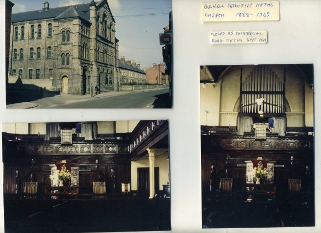 Three photographs of the exterior facade and the interior of the church taken in 1969 just prior to demolition;