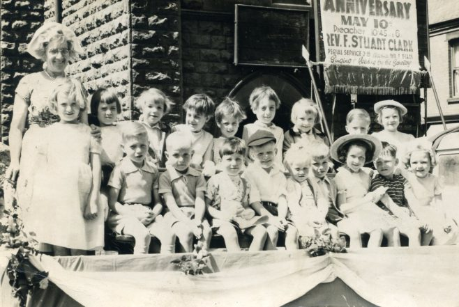 The primary class of the Sunday School on the Church Parade float in 1958 or 1959