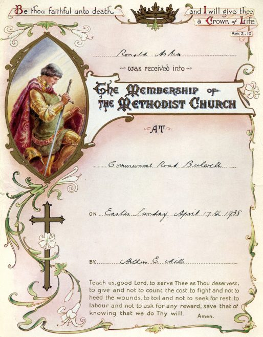 My late father's certificate of admittance into membership