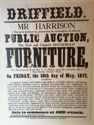 Sale poster 1872. On display at the Museum | Englesea Brook Museum