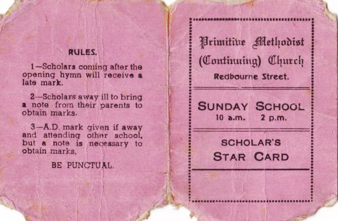 Redbourne St Sunday School star card
