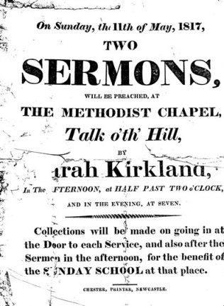 Handbill for Sarah Kirkland preaching at Talk o'th' Hill Primitive Methodist Chapel, 1817 | Englesea Brook Museum