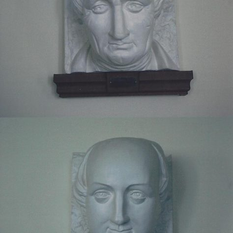 Copies of the heads of Bourne and Clowes which were made from those on the dripstones of the old Primitive Chapel. These are now mounted in the Crush Hall of the present Methodist Church. | Iain Parsons