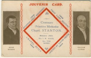 Centenary post card for Stanton Primitive Methodist chapel | Englesea Brook Museum picture and postcard collection