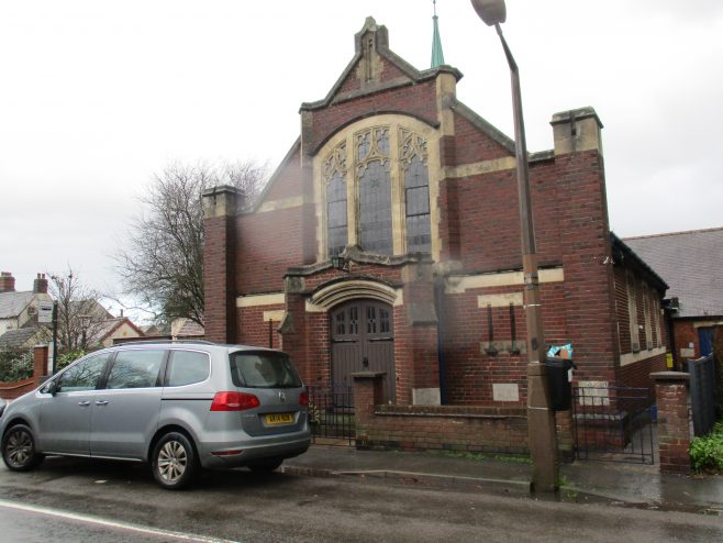 The current (2018) Methodist church was built in 1933, in front of the second (1905) Primitive Methodist chapel in Stoke Golding. The Second chapel is just visible on this photograph | Christopher Hill January 2018