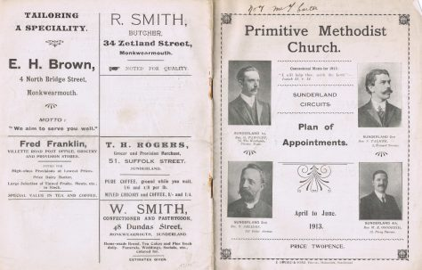Sunderland Circuits Primitive Methodist Preachers' Plan