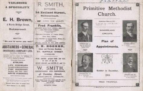 Sunderland Circuits' Primitive Methodist Preachers' Plan