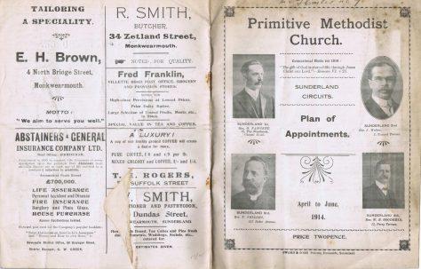 Sunderland Circuit Primitive Methodist Preachers' Plan