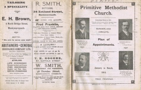Sunderland Circuit's Primitive Methodist Preachers' Plan
