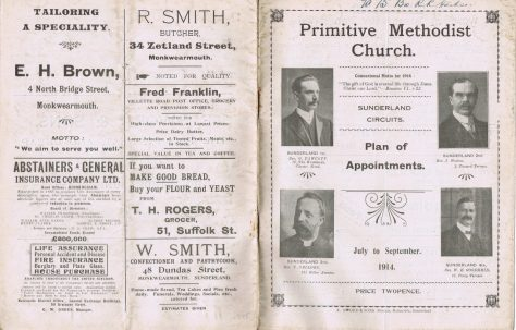 Sunderland Circuits' Primitive Methodist Preachers' Plan
