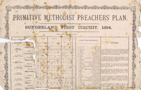 Sunderland First Circuit Primitive Methodist Preachers' Plan