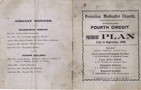 Sunderland Fourth Circuit Primitive Methodist Preachers' Plan