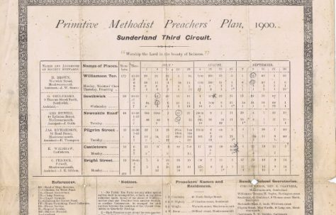 Sunderland Third Circuit Primitive Methodist Preacher's Plan