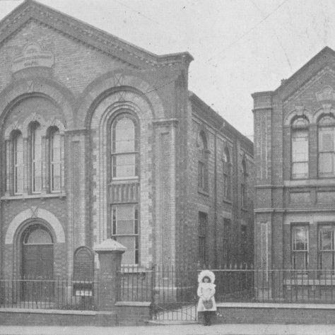 Swan Street chapel and schools; who is the little girl? | Centenary Camp Meeting Souvenir Handbook 1907