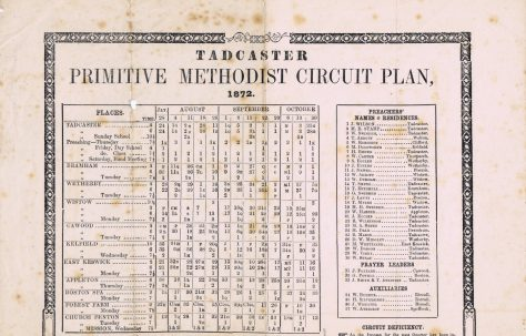 Tadcaster Circuit Primitive Methodist Preachers' Plan