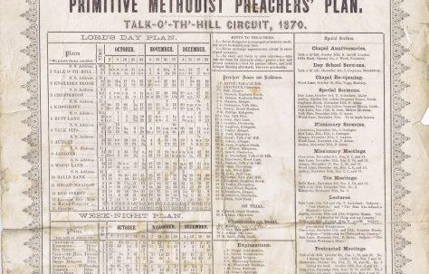 Talk-O'-Th'-Hill Station Primitive Methodist Preachers' Plan