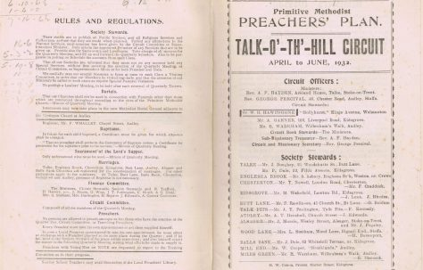 Talk-O'-Th'-Hill Circuit Primitive Methodist Preachers' Plan