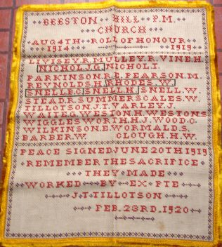Cross-stich Roll of Honour worked by John Thomas Tillotson (1888-1950)
