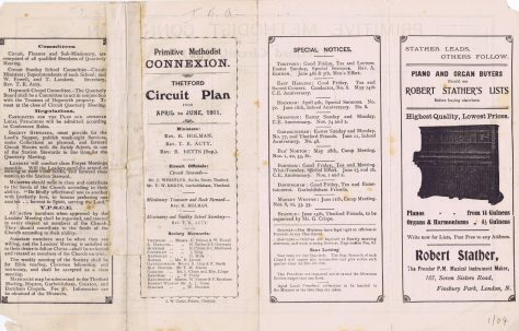 Thetford Circuit Primitive Methodist Preachers' Plan