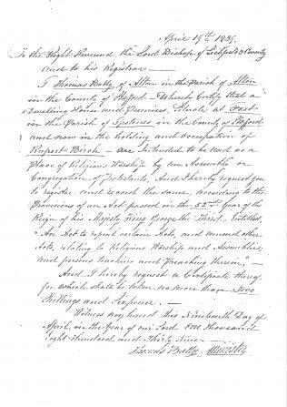 See transcript of letter below