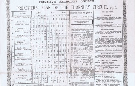 Thornley Circuit Primitive Methodist Preachers' Plan