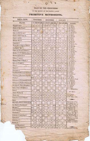 Tunstall Circuit Preaching Plan, 1815-16   Englesea Brook Museum