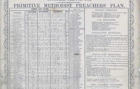 Tunstall Circuit Primitive Methodist Preachers' Plan