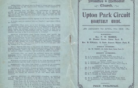 Upton Park Circuit Primitive Methodist preachers' Plan