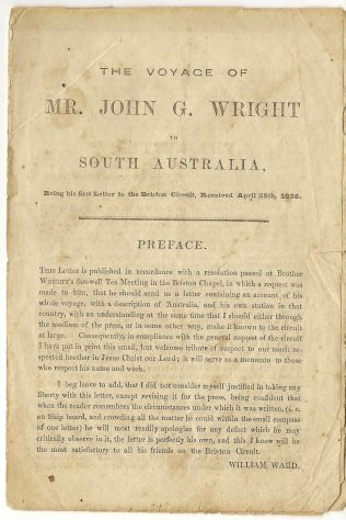 Wright, John Gibbon (1822-1904) : His Voyage to South Australia | Englesea Brook Museum