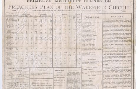 Wakefield Circuit Primitive Methodist Preachers Plan