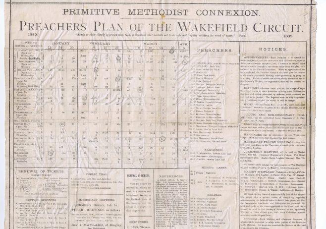 Wakefield Circuit Primitive Methodist Preachers Plan
