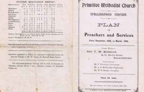 Wallingford Circuit Primitive Methodist Preaching Plan