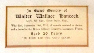 Walter Wallace Hancock, of Mow Cop