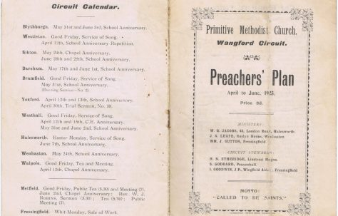 Wangford Circuit Primitive Methodist Preaching Plan
