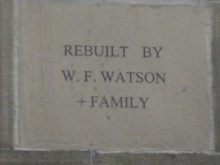 Family plaque by the Watson Family on refurbished chapel