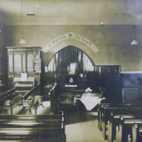 Photo No.5. Interior view of Winterley Chapel in the early 1900s   This photo is by kind permission of the Society at Winterley Methodist Chapel