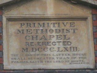 Date plaque of second chapel built in 1863