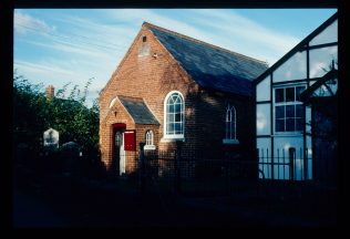 Chapel in November 1990 showing previous hall on the right   David Hill